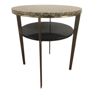 Elite Leather Round Granite Top Side Table