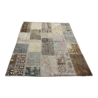 Turkish Vintage Overdyed Patchwork Oushak Rug - 5′ × 6′2″