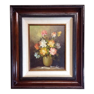 Vintage Framed Still Life Oil Painting by Robert Cox
