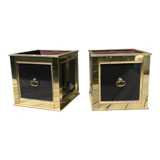Regency Black & Brass Planters - A Pair