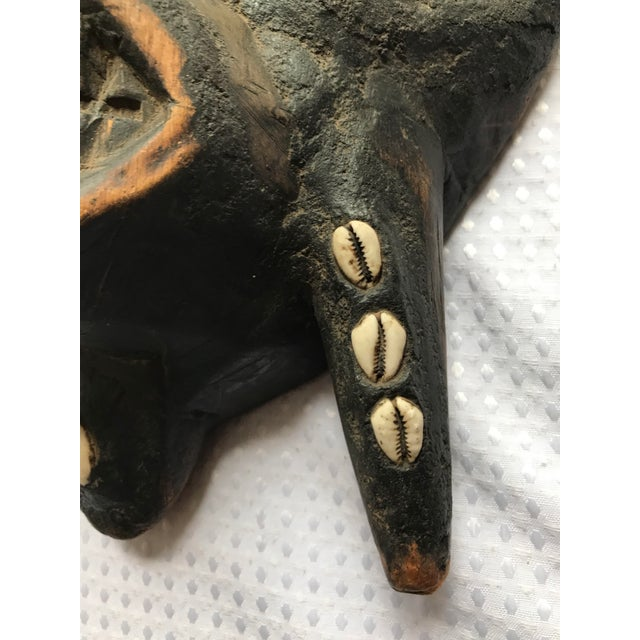Large Metal Beads & Shells African Wooden Mask - Image 6 of 11