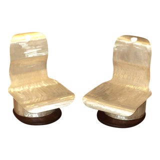 A Pair of Mid Century Modern Space Age, Low Chairs