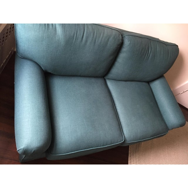 Rolled Arm Forest Green Linen Loveseat - Image 5 of 7
