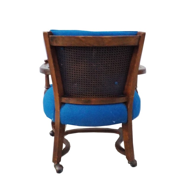 Hollywood Regency Wood Desk Chair with Caning - Image 5 of 6