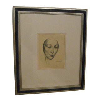 Enzo Baccante Art Deco Pencil Portrait