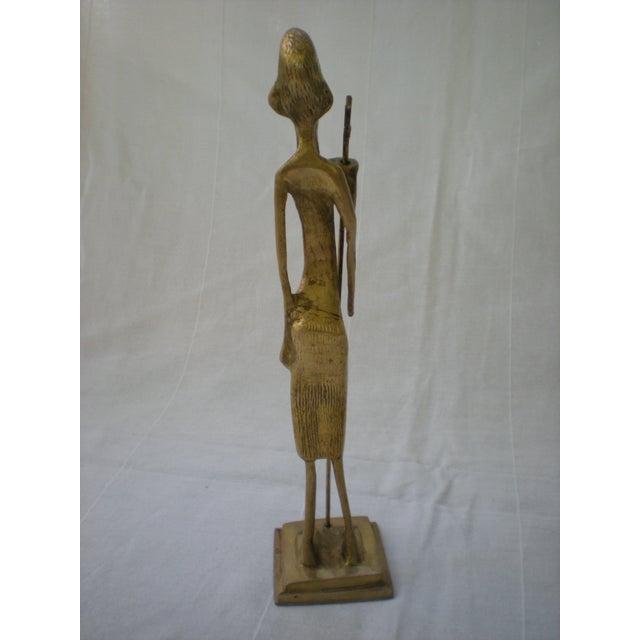 Image of Brass African Warrior Statue