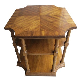 Weiman Large Three Tiered End Table with Banded Top