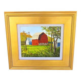 Steve Gibson Red Barn Oil Painting