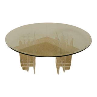 Mid-Century Round Glass Top Coffee Table with Two-Part Lucite Base