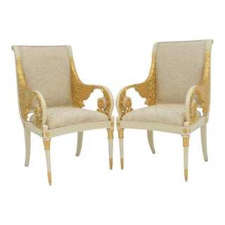 French Style Wing White and Gold Carved Arm Chairs - a Pair
