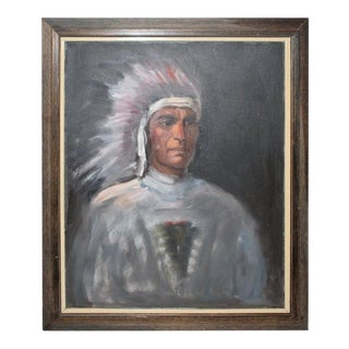 American Indian Chief Oil Painting