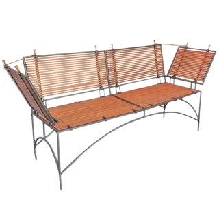 Iron Framed Reeded Knole Style Bench or Settee