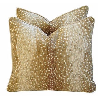 Antelope Fawn Spot Velvet Pillows - a Pair