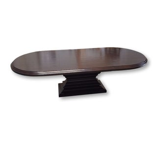 Custom Oval Alder Wood Dining Table With 2 Leaves