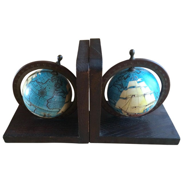 Nautical Spinning Globe Ships Bookends - Pair - Image 1 of 6