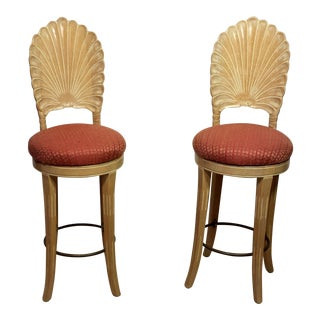 Italian Scallop Shell Carved Wood Back Bar Stools - A Pair
