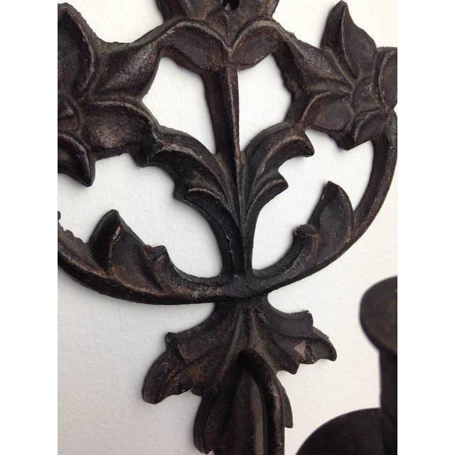 Cast Iron Candle Wall Sconces - A Pair - Image 4 of 5