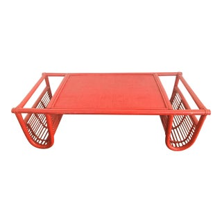 Vintage Red Bamboo Tray Table or Magazine Rack