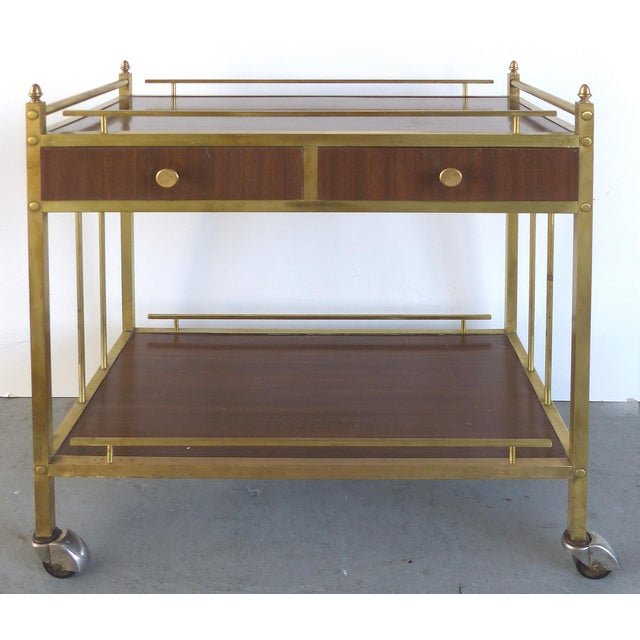 Bi-Level Brass Rolling Bar Trolley W/ Wood Accents - Image 2 of 10
