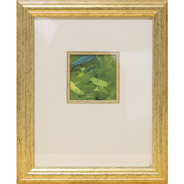 Image of Green & Turquoise Abstract Oil in a Goldtone Frame