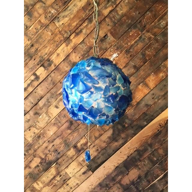 Image of Blue Resin Rock Swag Lamp
