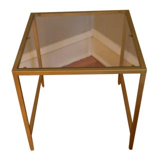 Gold Framed Side Table with Glass Top
