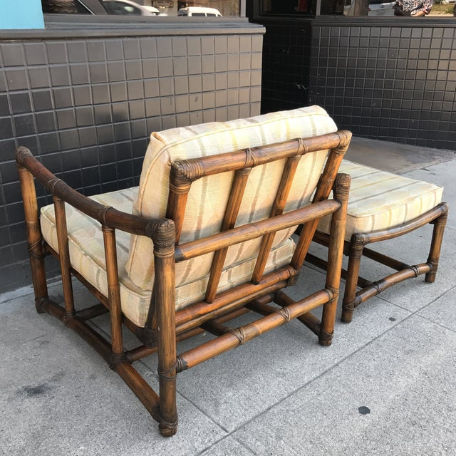 Vintage McGuire Lounge Chair & Ottoman - Image 6 of 10