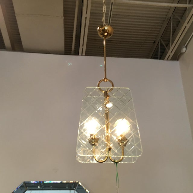 Cut Crystal and Brass Chandelier by Pietro Chiesa for Fontana Arte - Image 3 of 6