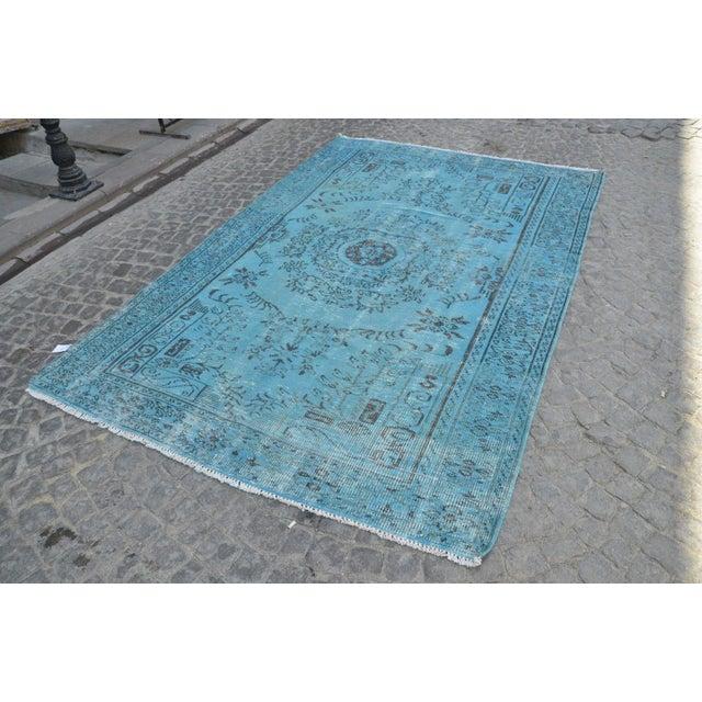 """Turkish Oushak Turquoise Rug - 6' x 8'9"""" - Image 2 of 6"""
