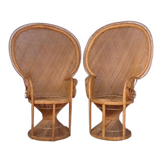 "Wicker ""Emmanuelle"" Peacock Chairs - A Pair"