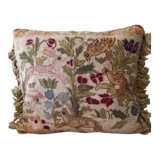 Royal Garden Needlepoint Throw Pillow