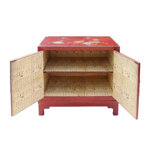 Oriental Red Vinyl Flower Side Table Cabinet - Image 5 of 7