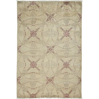 "New Oushak Hand Knotted Area Rug - 4'2"" x 6'1"""