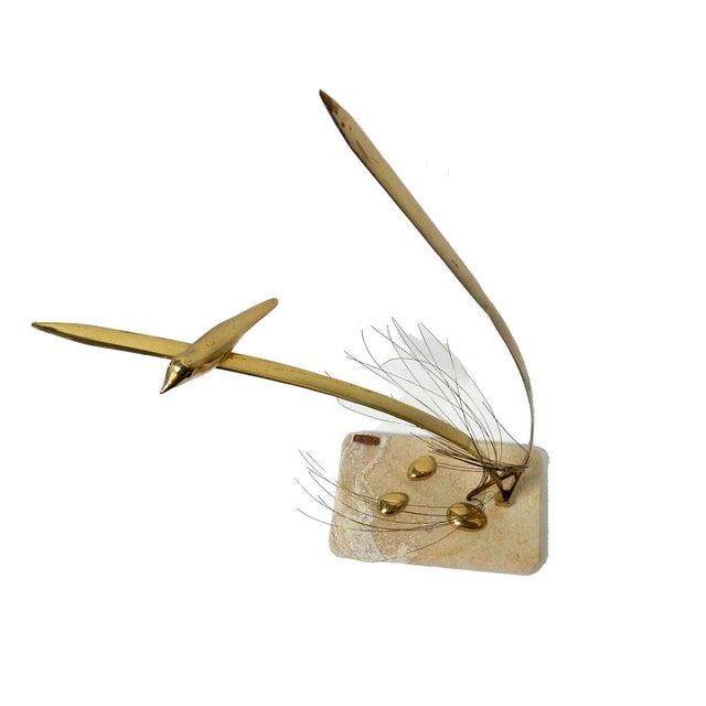 Image of Bijan Brass Bird Sculpture on Marble Base