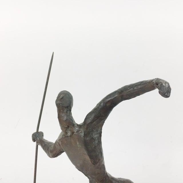 Vintage Twila Albers Bronze Figure Throwing Spear - Image 4 of 8