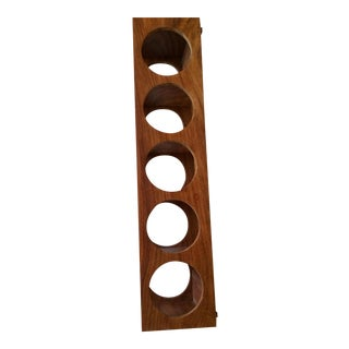 Crate & Barrel Shesham 5 Bottle Wall Mount-Stacking Wine Rack