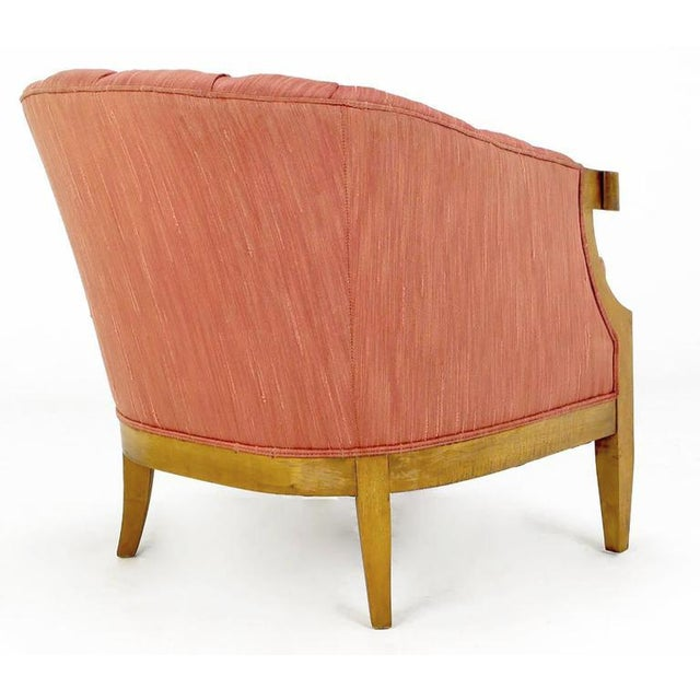 Winsor White & William Millington for Baker Button-Tufted Silk & Walnut Club Cha - Image 6 of 9