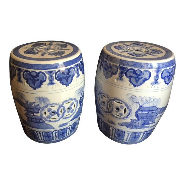 Chinese Garden Stools - Pair - Image 1 of 6