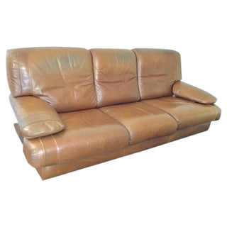1970s Vintage French Tobacco Leather Sofa