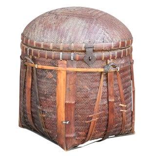 Round Woven Lidded Basket