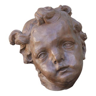 Monumental Terra Cotta Cherub Face