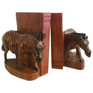 Hand Carved Zebra Bookends - A Pair