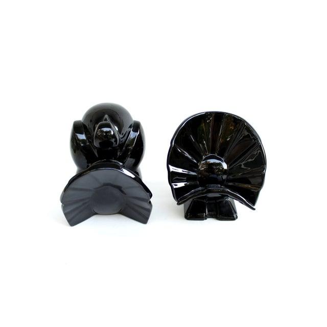 Image of Fitz & Floyd Ceramic Bird Bookends, Black Finish