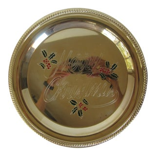 Round Brass Christmas Tray