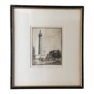 """Mount Vernon Place"" Vintage Etching"