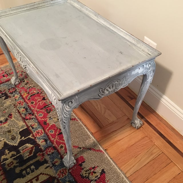Light Blue Distressed Clawfoot Wooden Coffee Table - Image 3 of 5