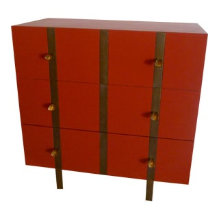 Paul Marra Three Drawer Banded Chest in Custom Lacquer and Inset Iron Band