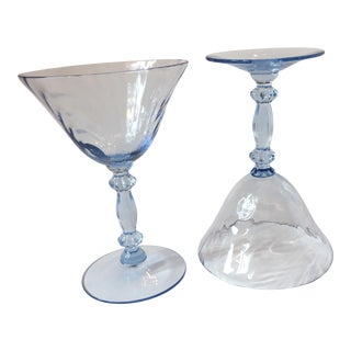 Cambridge Caprice Moonlight Blue Champagne Glasses - A Pair