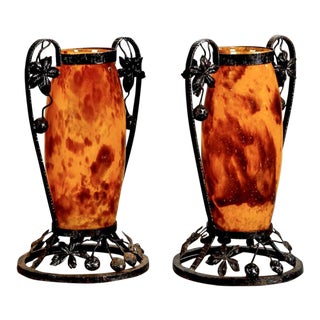 Pair French Tall Signed Delatte Nancy Art Glass and Iron Vases