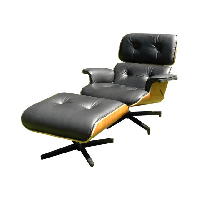 Eames Style Leather Lounge Chair And Ottoman Chairish
